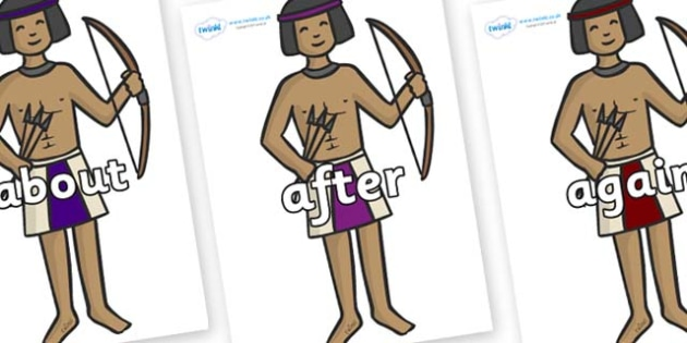 KS1 Keywords on Egyptian Archers - KS1, CLL, Communication language and literacy, Display, Key words, high frequency words, foundation stage literacy, DfES Letters and Sounds, Letters and Sounds, spelling
