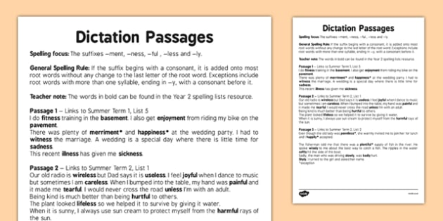 Dication Passages - The Suffixes -ment -ness -ful -less and -ly - spelling, suffix, grammar, SPaG, adjectives