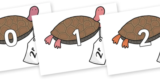 Numbers 0-31 on Terrapin to Support Teaching on The Great Pet Sale - 0-31, foundation stage numeracy, Number recognition, Number flashcards, counting, number frieze, Display numbers, number posters