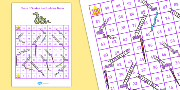 Phase 3 Tricky Words Snakes and Ladders - phase 3, snakes and ladders, snakes, ladders