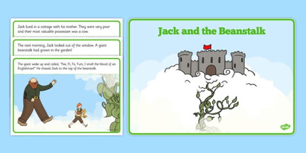 Jack and the Beanstalk Story - Jack and the Beanstalk, traditional tales, tale, fairy tale, Jack, giant, beanstalk, beans, golden egg, axe, castle, sky
