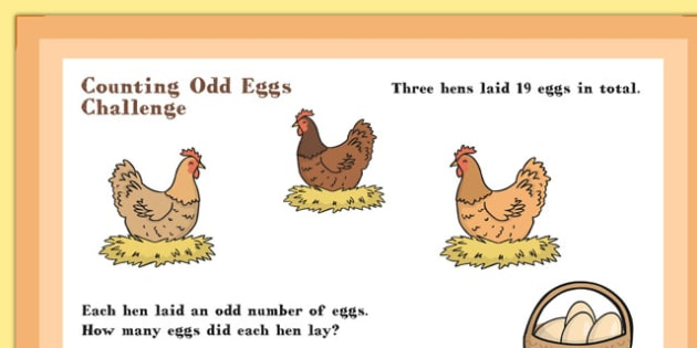 A4 KS1 Counting Odd Eggs Maths Challenge Poster - Maths, Eggs