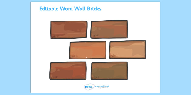 Editable Word Wall Bricks (Small) - Word Wall, editable, brick, bricks, words, keywords, banner, poster, wow words, VCOP, adjectives, nouns, display words