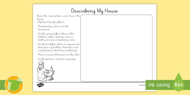 Ficha de actividad La descripcin de mi casa  Ingls