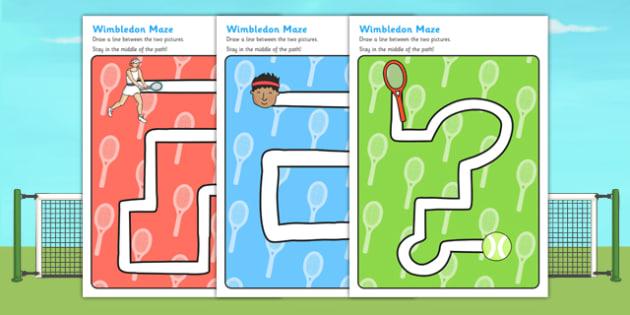 Wimbledon Themed Pencil Control Path Worksheet - motor skills