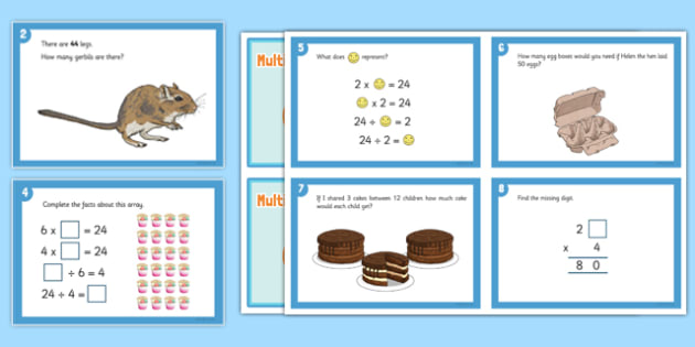 Y3 Multiplication and Division Challenge Cards - extension, fast finisher, challenge, extension, using and applying, problem solving, maths challenge
