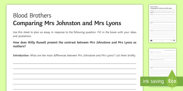 mrs lyons blood brothers essay An example of this is when mrs lyons goes in to mrs blood brothers essay blood brothers is set in this is my blood brother blood brothers is composed.