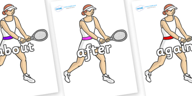 KS1 Keywords on Tennis Players - KS1, CLL, Communication language and literacy, Display, Key words, high frequency words, foundation stage literacy, DfES Letters and Sounds, Letters and Sounds, spelling