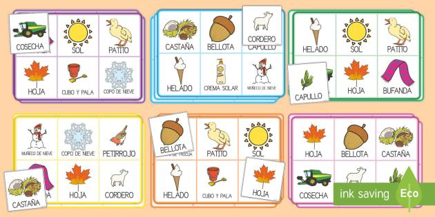 Las estaciones del año Bingo - El tiempo y las estaciones del año, proyecto, vocabulario,Spanish