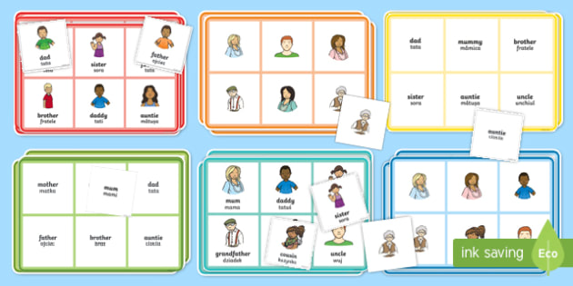 Family Members Bingo Romanian/English - Ourselves, All about me, family, Ks1, Y1, Year 1, EYFS, Reception, Growing, growth, EAL