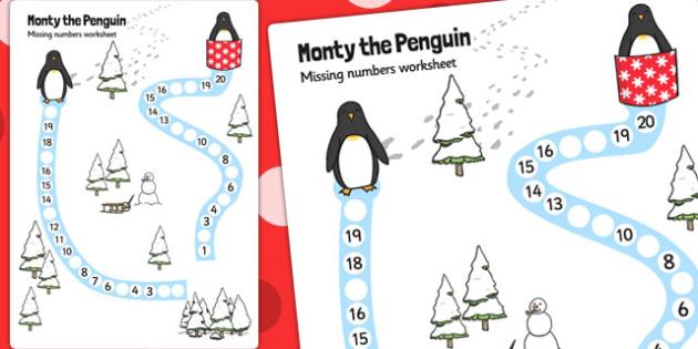 Monty the Penguin Missing Number Path Worksheet - monty, penguin
