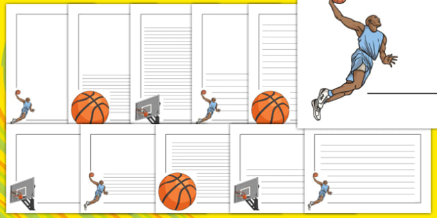 The Olympics Basketball Page Borders - Basketball, Olympics, Olympic Games, sports, Olympic, London, 2012, page border, border, writing template, writing aid, writing, activity, Olympic torch, events, flag, countries, medal, Olympic Rings, mascots, f