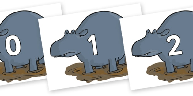 Numbers 0-31 on Humpy Rumpy Hippopotamus to Support Teaching on The Enormous Crocodile - 0-31, foundation stage numeracy, Number recognition, Number flashcards, counting, number frieze, Display numbers, number posters