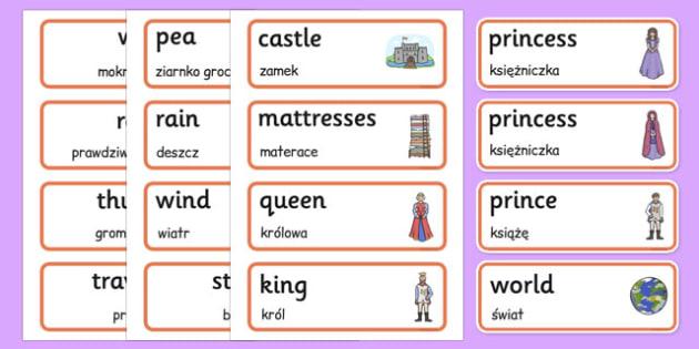 The Princess and the Pea Word Cards Polish Translation - polish, princess, pea, word cards, word, cards
