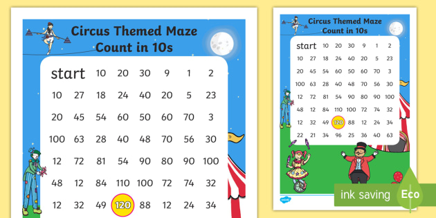 Circus Themed Counting in 10s Maze - count, counting aid, games