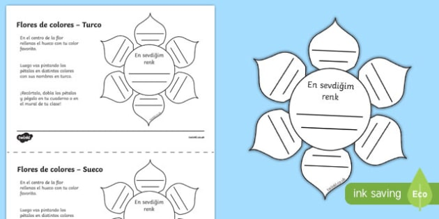 Ficha de actividad Flores de colores - turco