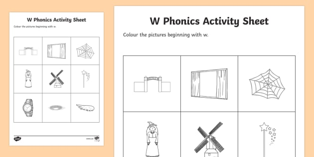w Phonics Colouring Activity Sheet - Republic of Ireland, Phonics Resources, sounding out, initial sounds, activity sheet, colouring, pho