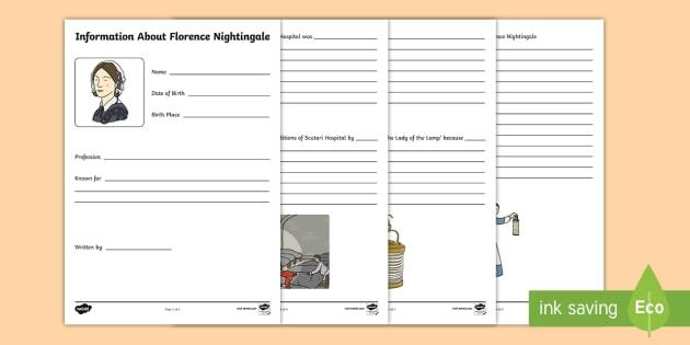Florence Nightingale Information Writing Booklet - florence nightingale, florence nightingale booklet, florence nightingale information booklet, writing
