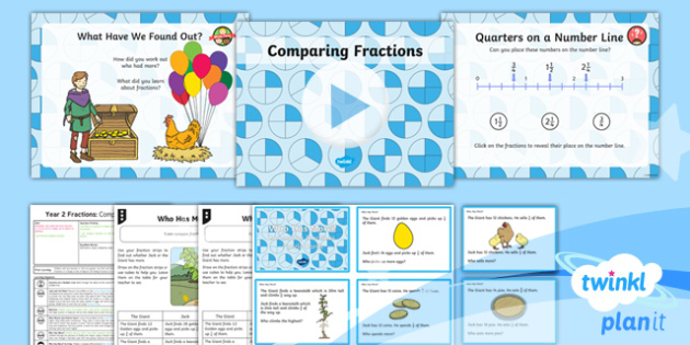 PlanIt Y2 Fractions Lesson Pack - Fraction, numerator, denominator, 1/2, 1/3, 1/4, 3/4, fraction strips, compare, jack and the beansta