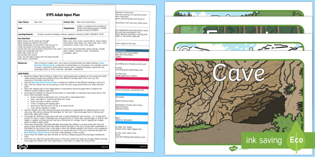 Sound Story Activity to Support Teaching on Bear Hunt EYFS Adult Input Plan and Resource Pack