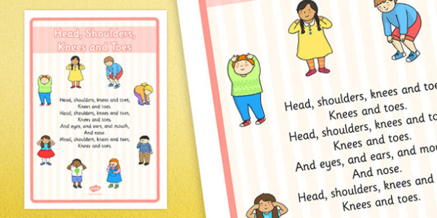 Head, Shoulders, Knees and Toes Nursery Rhyme Large Display Poster - Physical development, eyfs, movement, songs