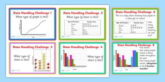 Data Handling Challenge Cards - data handling problems, data handling questions, data handling problem cards, data handling challenges, data, ks2 maths