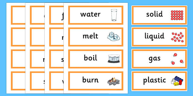 Solids Liquids and Gases Word Cards - States, word card, flashcards, liquid, gas, solid, ice, forces, movement, gravity, push, pull, Magnet, friction, science, knowledge and understanding of the world