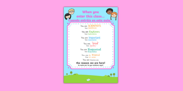 When You Enter This Class Poster Spanish Translation - spanish, when you enter this class, poster, display poster, poster for display, classroom display, classroom poster, theme poster