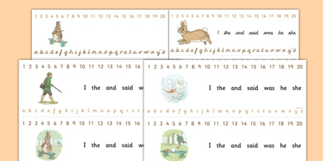 Beatrix Potter - The Story of a Fierce Bad Rabbit Combined Number and Alphabet Strips - beatrix potter, fierce, bad, rabbit