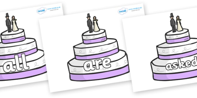 Tricky Words on Wedding Cakes - Tricky words, DfES Letters and Sounds, Letters and sounds, display, words