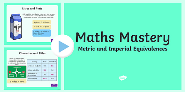 Year 5 Measurement Metric and Imperial Equivalences Maths Mastery Activities PowerPoint