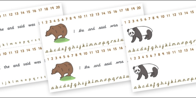 Combined Alphabet and Number Strips (Bears) - Bear, Alphabet, Numbers, Writing aid, animals, polar bear, koala bear, brown bear, grizzly bear, sloth bear,  bear resources
