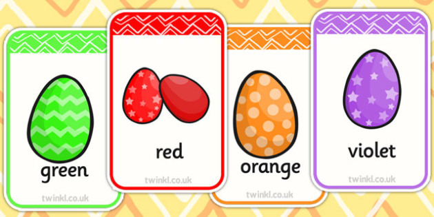 Colour Words on Easter Eggs Flashcards - colour, easter, egg