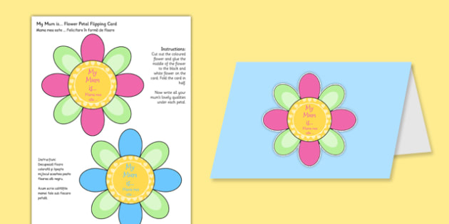 Mother's Day Flap Flower Card Romanian Translation - romanian, mothers, day, flap, flower, card