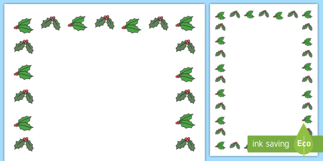Holly Tree Themed Page Borders - holly tree, page borders, page, borders, writing frame, writing, frame, write