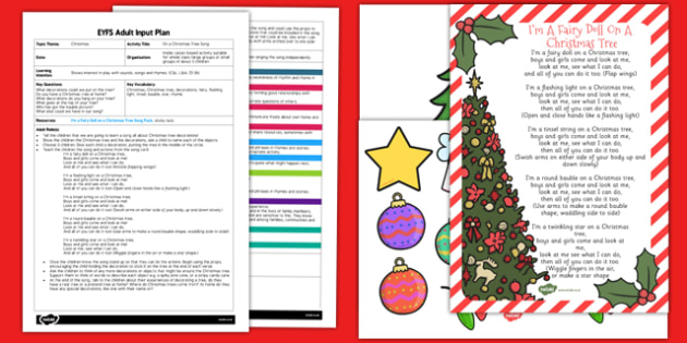 On a Christmas Tree Song EYFS Adult Input Plan and Resource Pack