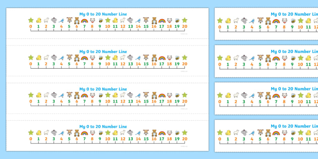 Numbers 0-20 on Number Line (numbers below) - Counting, Numberline, Number line, Counting on, Counting back, numeracy,numberline,counting,numbers to 20,numbers