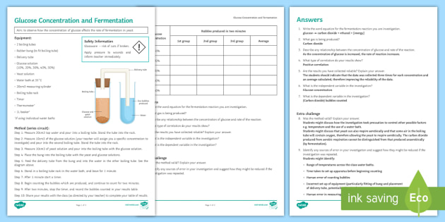 Glucose Concentration and Fermentation Investigation Instruction Sheet Print-Out - Investigation Help Sheet, science practical, method, instructions, glucose, yeast, respire, respirat