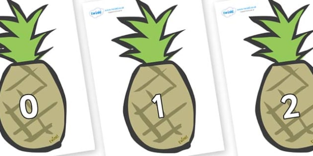 Numbers 0-31 on Pineapples - 0-31, foundation stage numeracy, Number recognition, Number flashcards, counting, number frieze, Display numbers, number posters
