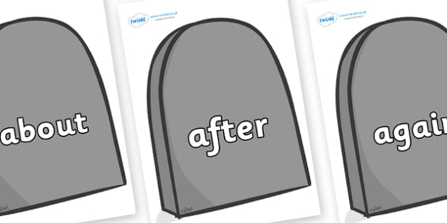 KS1 Keywords on Grave Stones - KS1, CLL, Communication language and literacy, Display, Key words, high frequency words, foundation stage literacy, DfES Letters and Sounds, Letters and Sounds, spelling