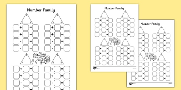 Subtraction ks2 subtraction worksheets : Number Family Activity Sheet Pack - Number family, inverse