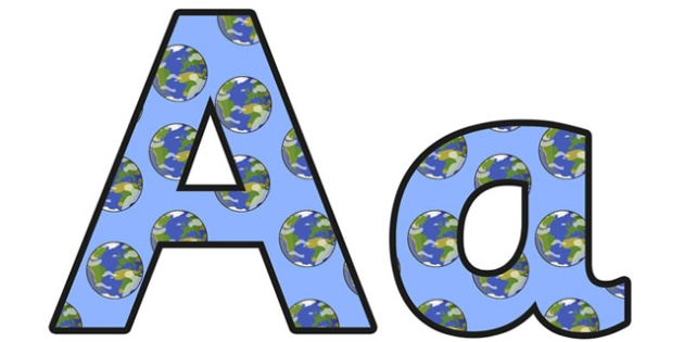 The Earth Small Lowercase Display Lettering - the earth, the earth display lettering, the earth display letters, the earth a-z lettering, the earth alphabet, ks2