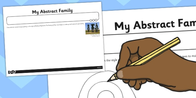 Activity Sheet 'My Abstract Family' - activity, abstract, family, worksheet