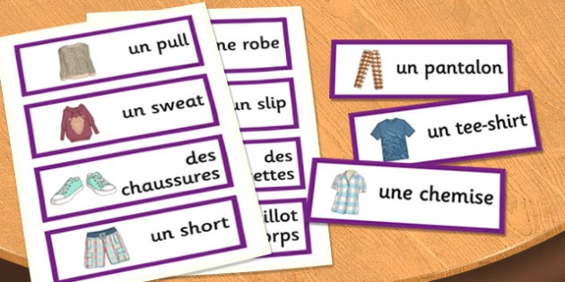 French Clothes 1 Word Cards - french, clothes, word cards, cards