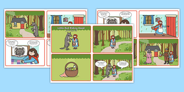 Little Red Riding Hood Story Sequencing 4 per A4 Speech Bubbles Arabic Translation - arabic, Little Red Riding Hood, traditional tales, tale, fairy tale, Wolf, Grandma, woodcutter, bed, cottage, forest, what big teeth you have