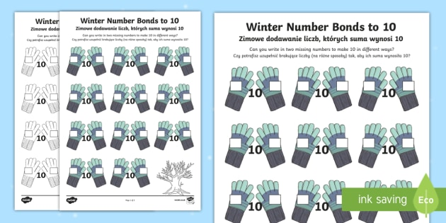 Winter Themed Number Bonds to 10 Activity Sheet English/Polish - Winter, snow, Christmas, mittens, gloves, number bonds to 10, addition, number facts,Polish-translat