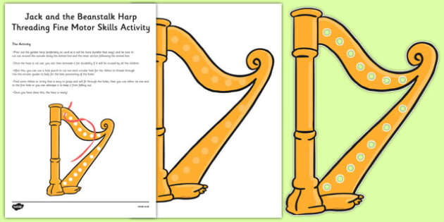 Jack and the Beanstalk Harp Threading Fine Motor Skills Activity - fairy tales, physical development, EYFS