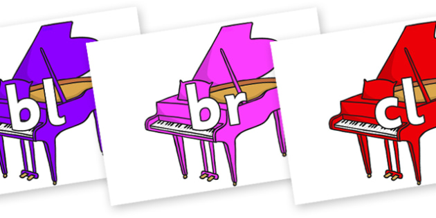 Initial Letter Blends on Baby Grand Pianos - Initial Letters, initial letter, letter blend, letter blends, consonant, consonants, digraph, trigraph, literacy, alphabet, letters, foundation stage literacy