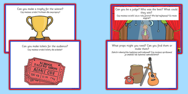 Talent Show Role Play Challenge Cards Polish Translation - polish, talent show, role play, challenge cards