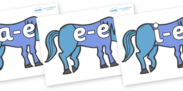 Modifying E Letters on Blue Horse to Support Teaching on Brown Bear, Brown Bear - Modifying E, letters, modify, Phase 5, Phase five, alternative spellings for phonemes, DfES letters and Sounds